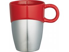 Double Dipper Ceramic Mug with Stainless Base 11oz