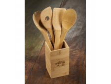 Bamboo 4-piece Kitchen Tool Set and Canister